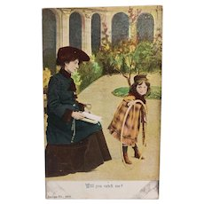 ca1910 Little Girl With A Hula Hoop Will You Catch Me Vintage Postcard