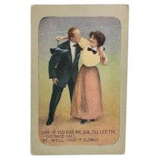 1915 Vintage Romance Postcard Man Kissing Woman