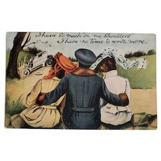 1909 Man With Two Women Vintage Postcard