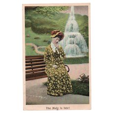 1908 The Male Is Late! Vintage Humor Postcard Bamforth's