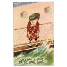 Early 1900's Seasick Little Boy On A Ship Vintage Postcard