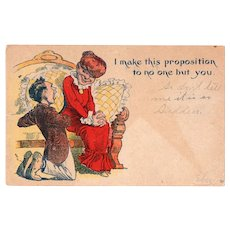 1908 I Make This Proposition To No One But You Vintage Postcard Romance