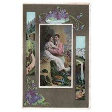 ca1910 Romantic Vintage Postcard Man & Woman Flowers Scenery