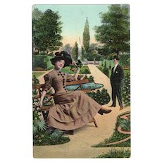 ca1910 Glamour Lady In A Park Vintage Postcard