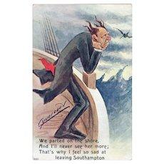 ca1915 Sad Man Leaving Southampton Vintage Postcard