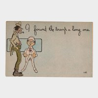 ca1910 I Found The Tramp A Long One Vintage Humor Postcard