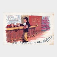 ca1910 I Miss The Home Cooking Vintage Humor Postcard