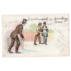 1907 UDB I Witnessed A Touching Scene Pickpocket Vintage Humor Postcard