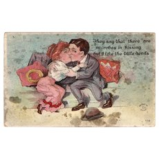 1911 They Say That There Are Microbes In Kissing But I Like The Little Devils Vintage Humor Postcard