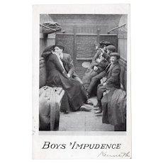 1907 Boys Impudence Vintage UDB Postcard