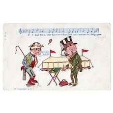 ca1905 UDB Two Men At A Carnival Vintage Postcard