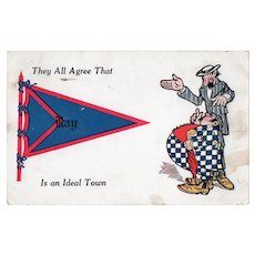ca1910 They All Agree That Ray Is An Ideal Town Vintage Pennant Flag Postcard
