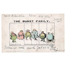 1906 The Burst Family Vintage Humor Postcard Overweight Family Funny Names