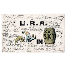 1906 U.R.A. Buttinsky Vintage Humor UDB Postcard Goat Head Butting Man
