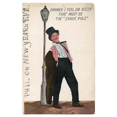 1913 Drunk Man Leaning On A Light Pole Vintage Humor Postcard