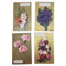 Lot of 4 Early 1900's Floral Greeting Postcards