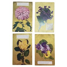 Set of 4 Early 1900's Floral Greeting Postcards