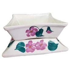 Cash Family Pottery 2 Piece Planter Lavender Flowers
