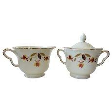 Hall Autumn Leaf Jewel Tea Ruffled Sugar & Creamer