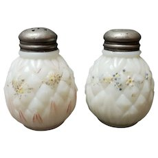 EAPG Quilted Pineapple Opaque White Milk Glass Salt & Pepper Shakers