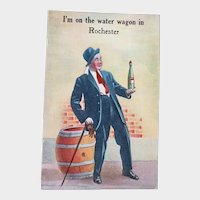 ca 1910 I'm On The Water Wagon in Rochester Vintage Comic Postcard