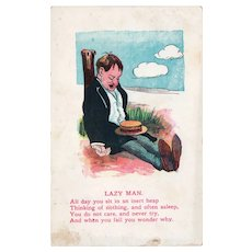 1915 Lazy Man Poem Vintage Humor Postcard