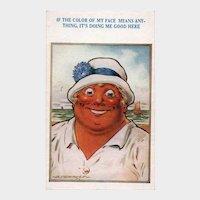 1924 Tan Woman At The Beach Vintage Humor Postcard D Tempest