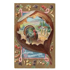 Early 1900's Vintage Embossed Thanksgiving Postcard Fig Turkey Colorful Fruits