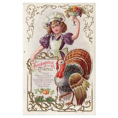 1915 Vintage Thanksgiving Menu Postcard Girl with Fruit Bowl & Turkey Gold Details