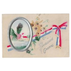 1911 Embossed Airbrushed Patriotic Thanksgiving Postcard Red White Blue Ribbon