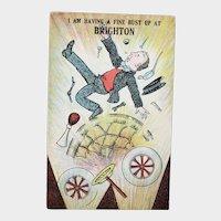 ca1920 I'm Having A Fine Bust Up At Brighton British Humor Vintage Postcard