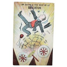 ca1920 I'm Having A Fine Bust Up At Brighton British Humor Vintage Postcard