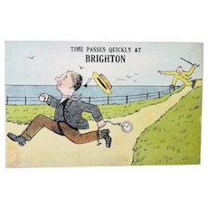 ca1920 Time Passes Quickly At Brighton Vintage British Humor Postcard