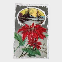 1910 Merry Christmas Embossed Postcard Poinsettias and Winter Scene