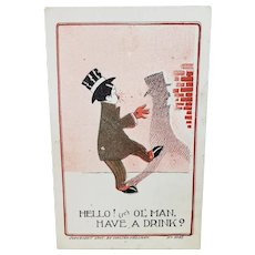1907 Drunk Man Asking His Shadow If It Wants A Drink Vintage Humor Postcard