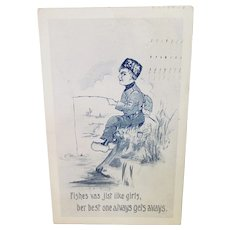 1913 Fish Are Like Girls The Best One Gets Away Dutch Boy Vintage Humor Postcard