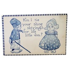 ca1920 Little Dutch Boy & Girl Vintage Romantic Postcard