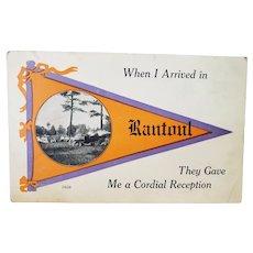 ca1915 Rantoul Kansas Town Pennant Flag Vintage Postcard Old Car Park Scene