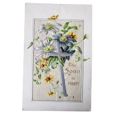 1912 Embossed Easter Greetings Postcard The Lord Is Risen