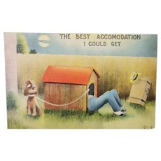 1943 The Best Accommodation I Could Get Man In The Dog House Vintage Linen Humor Postcard