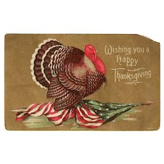 1911 Thanksgiving Postcard Patriotic American Flag