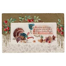 1913 J Herman Embossed Thanksgiving Postcard Turkeys Cranberries Gold