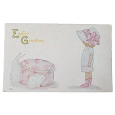 1920's F.A. Owen Easter Greeting Postcard Little Girl With Bunnies