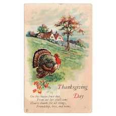 1925 Thanksgiving Day Postcard Turkey Country Scene w/ Tree