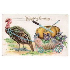 1915 Thanksgiving Greetings Postcard Turkey Pulling Wagon with Pumpkin