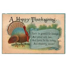 1913 Happy Thanksgiving Postcard Turkey w/ Saying on a Banner