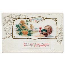 1913 Embossed Thanksgiving Greetings Postcard Turkey Pumpkins Hay Bales