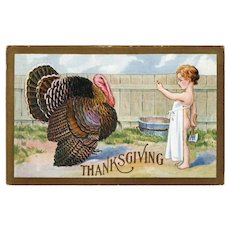 ca1910 Thanksgiving Vintage Postcard Child Hiding Meat Cleaver Calling A Turkey