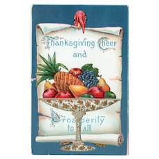 1912 Embossed Thanksgiving Cheer & Prosperity To All Postcard Turkey Peeking Over The Top