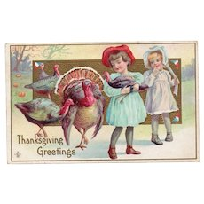 1911 LSC Embossed Vintage Postcard Thanksgiving Greetings Children with Turkeys